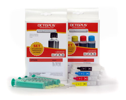 Refillable Cartridges T0611, T0614 with Refill Kits (non-OEM) for Epson