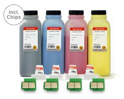 Farbtoner HP CP 6015, CM 6030, CM 6040 incl. Nachfülltoner, Chips