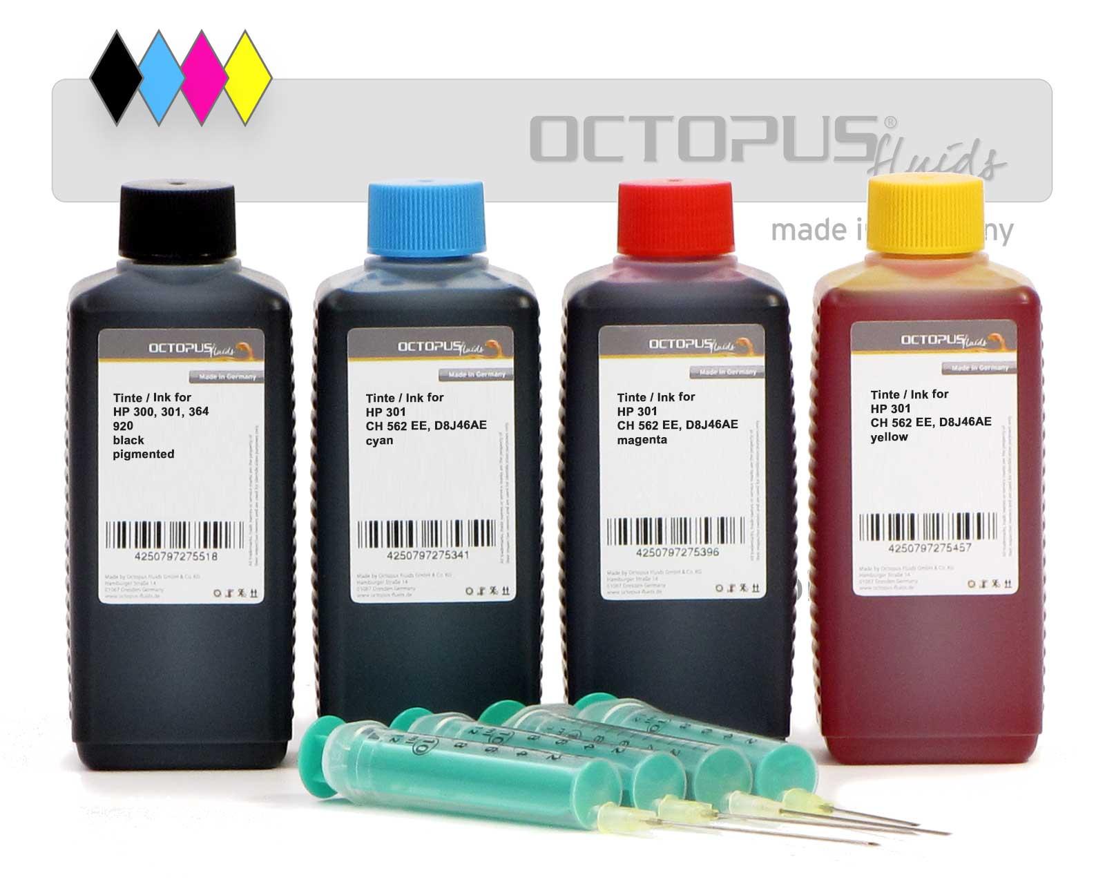 Druckertinten Komplettset für HP 301, alle vier Druckerfarben inkl. Refillzubehör