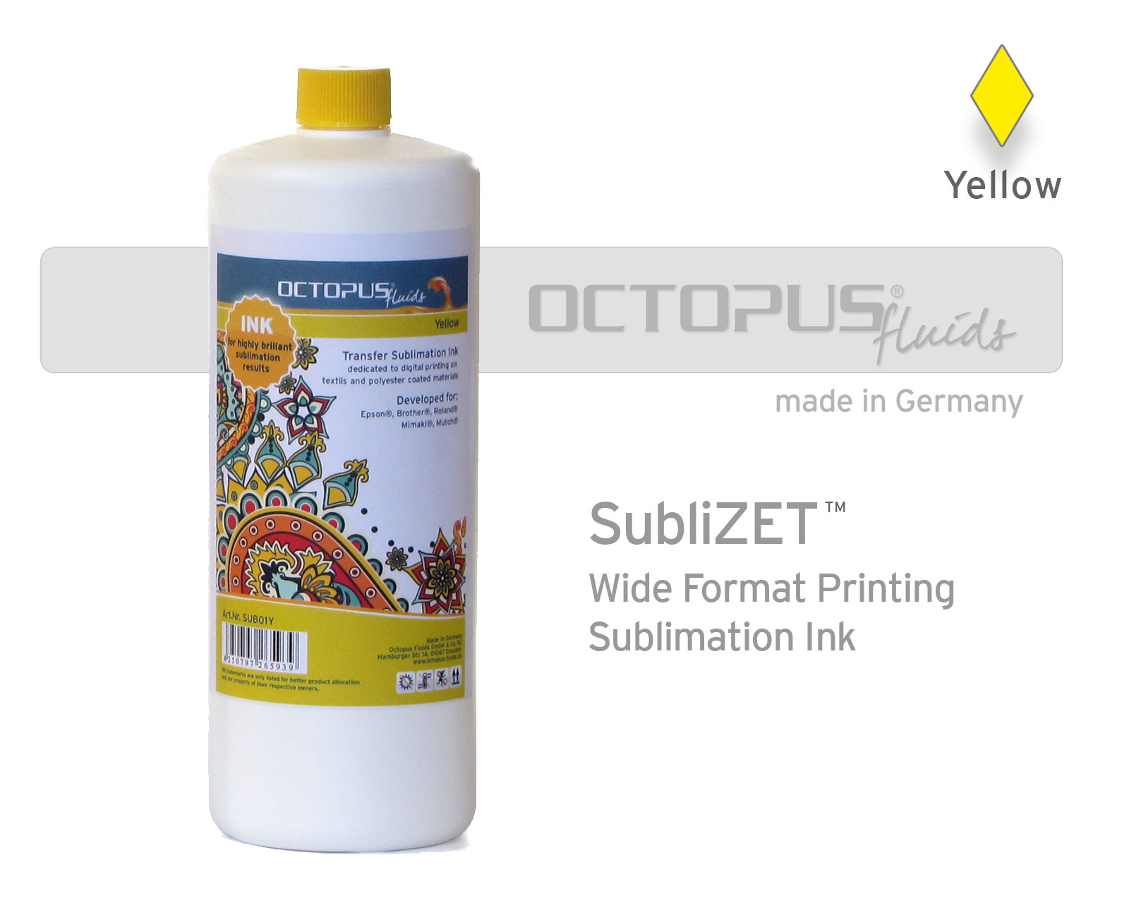 Sublimation ink for Epson, Brother, Roland, Mimaki, Mutoh, yellow