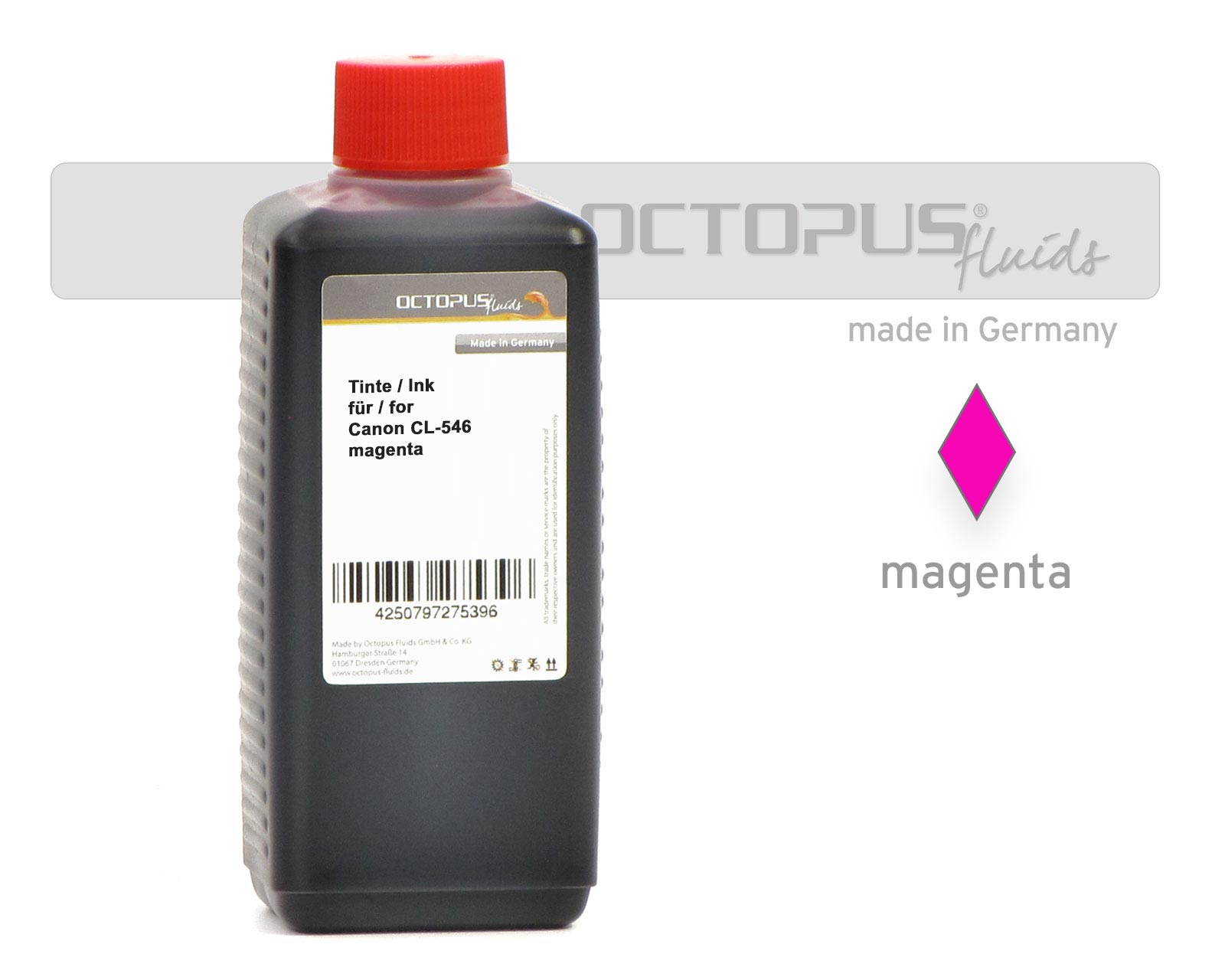 Octopus ink for Canon CL-546 color cartridges magenta