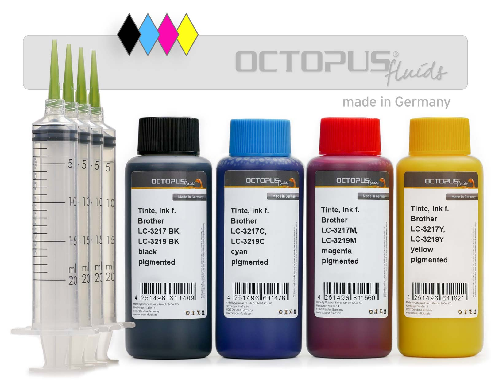 Refill Ink set for Brother LC-3217, LC-3219 cartridges, CMYK pigmented