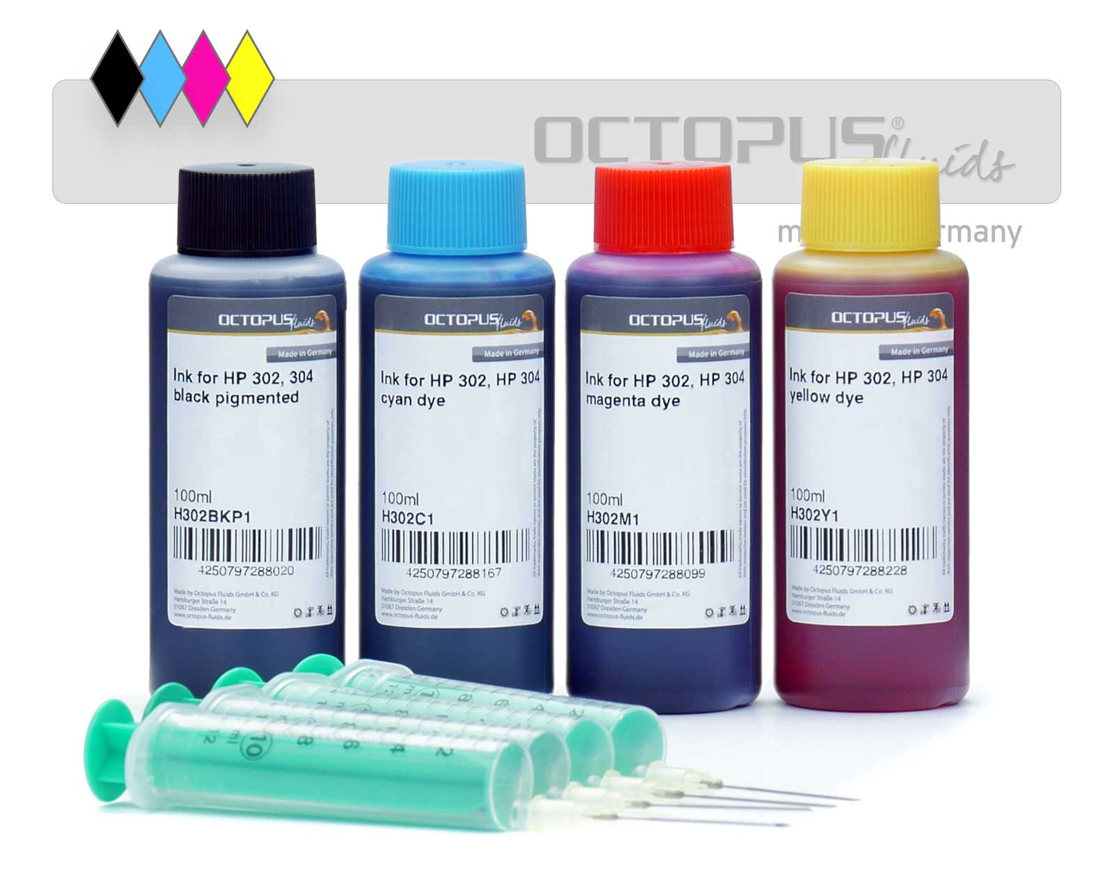 Refill ink kit for HP 302, HP 304 four colours