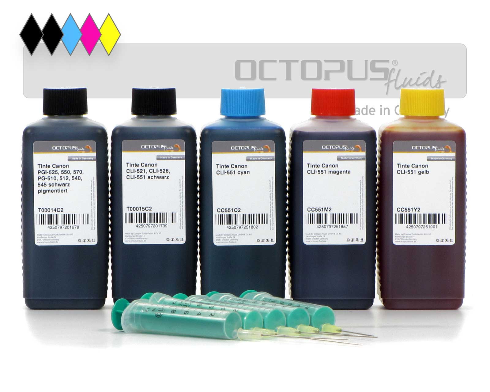 Refill ink set for Canon PGI-550, PGI-555XL, CLI-551