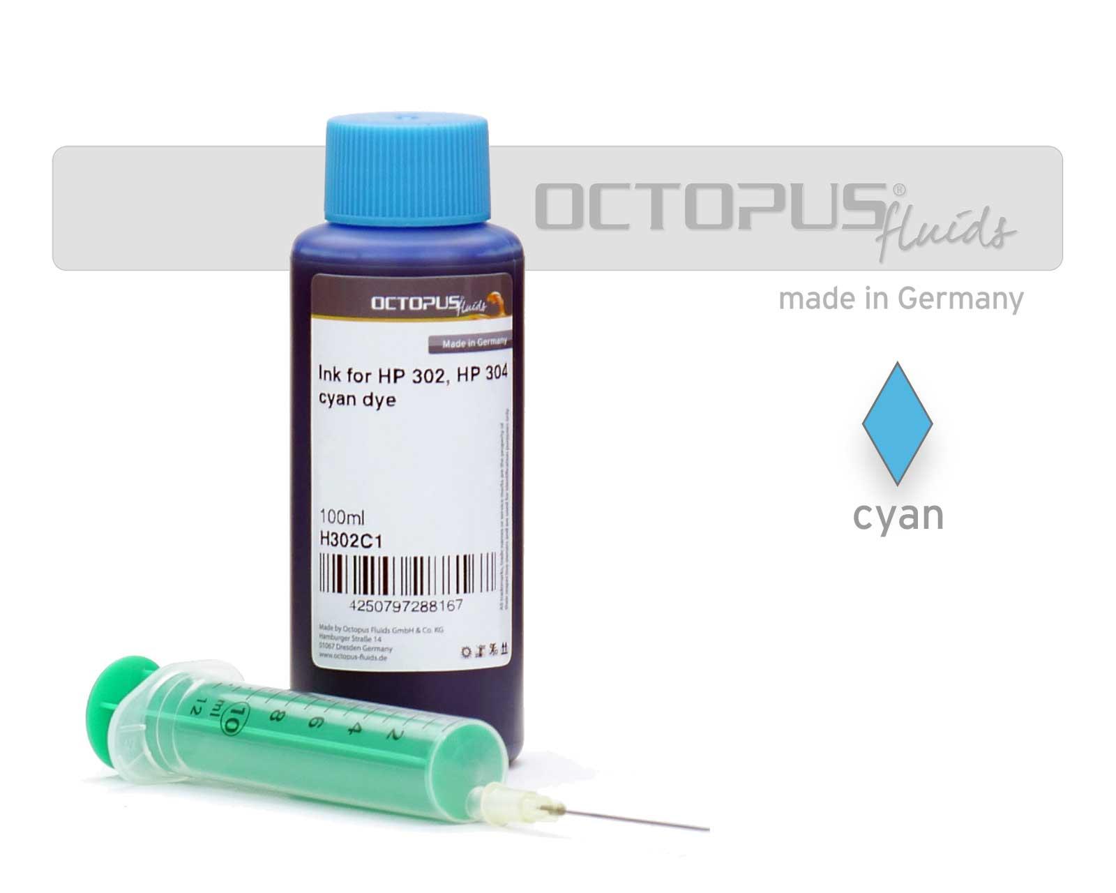 100ml Druckertinte für HP 302, HP 304 Druckerpatronen cyan mit Refillspritze