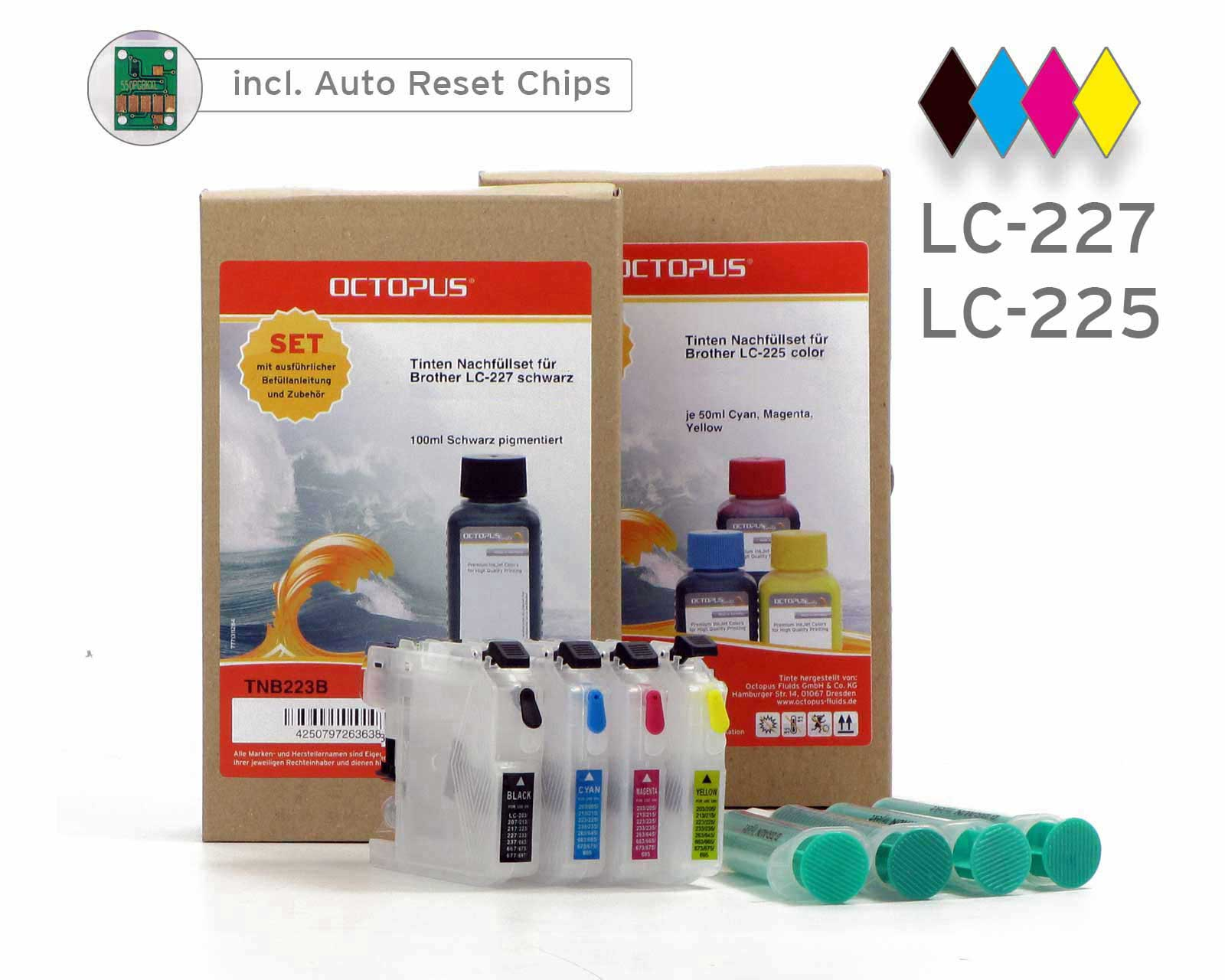 Set of refillable cartridges for Brother LC-227, LC-225 with ink refill kits