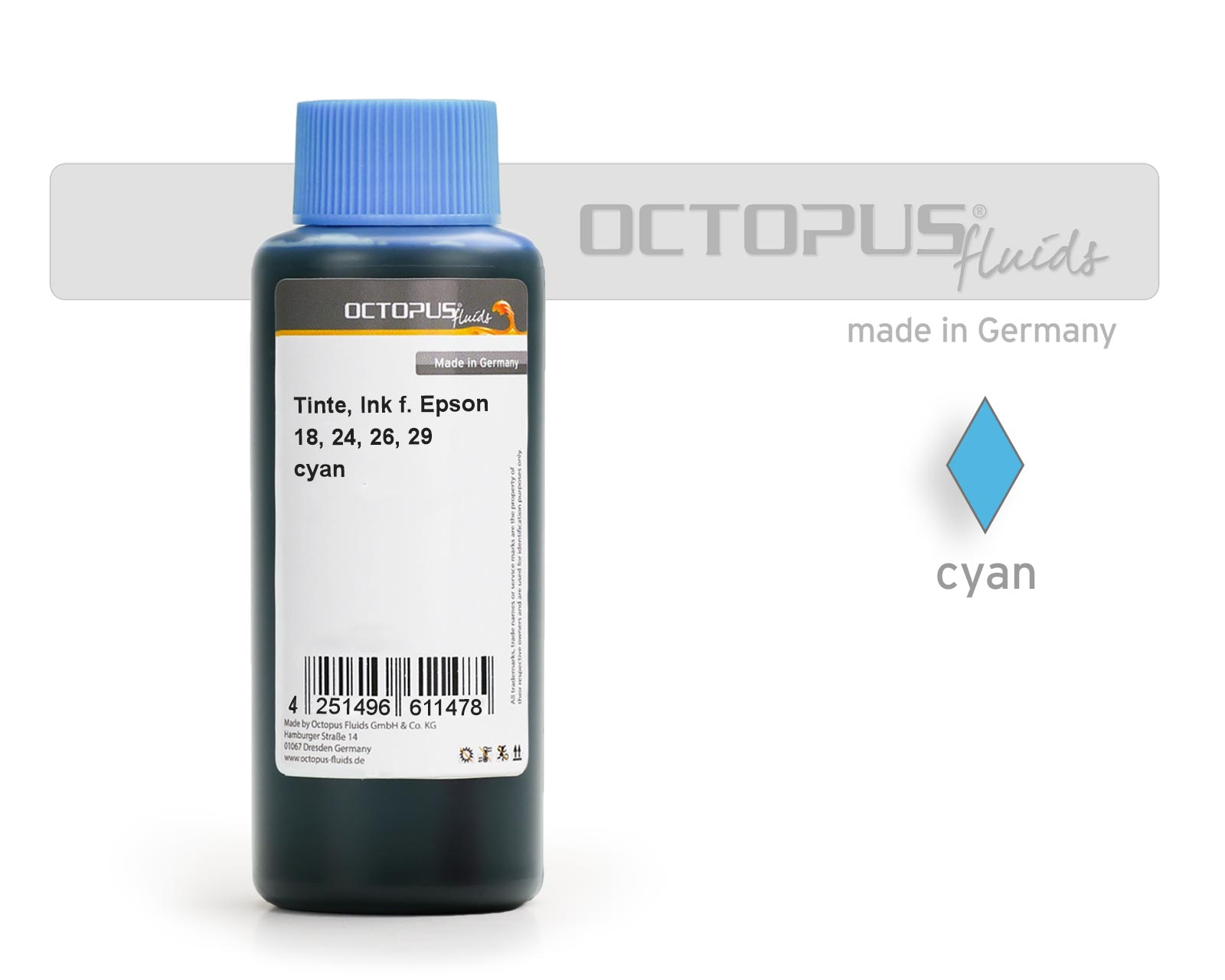Octopus Ink for Epson 18, 24, 26, 29 cartridges cyan