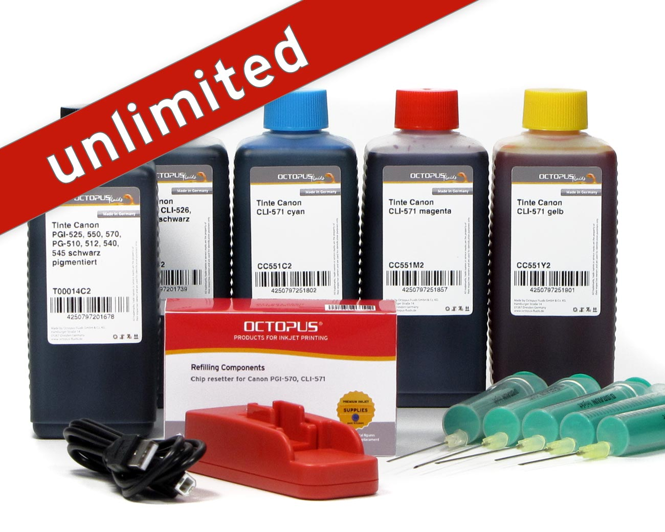 Set with chip resetter for Canon PGI-570, CLI-571 inkjet cartridges and 5x refill ink