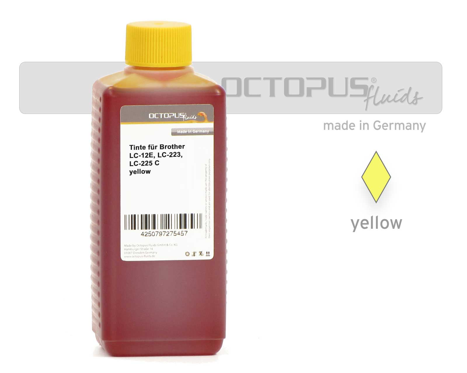Inchiostro di ricarica per Brother LC-12E, LC-223, LC-225, LC-221, giallo