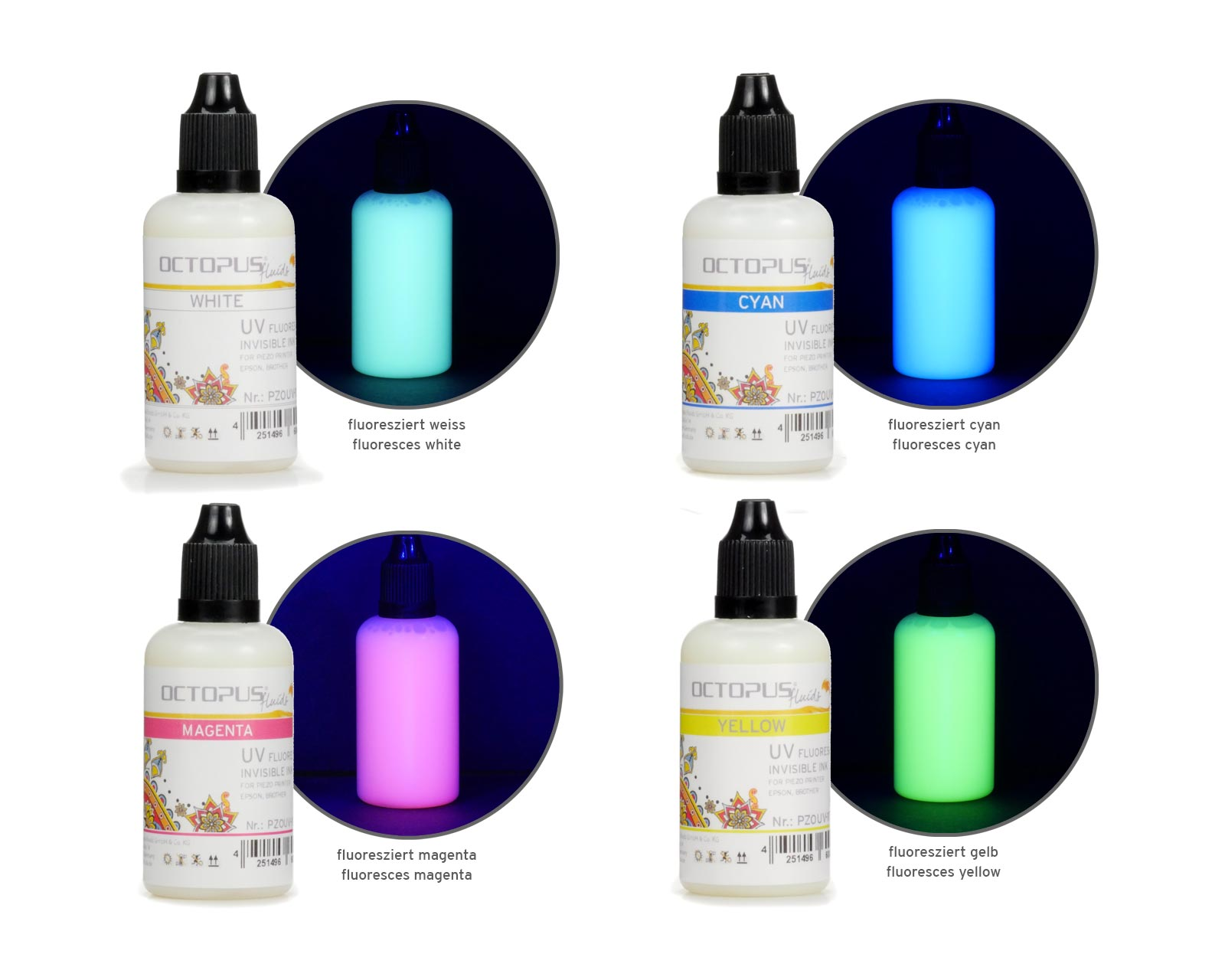 Set of 4x 50ml UV fluorescence invisible ink for Epson and Brother print heads: white, cyan, magenta, yellow