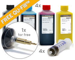 Refill kit for HP 970, 971 with QU-Fill, refill ink, 4x syringes