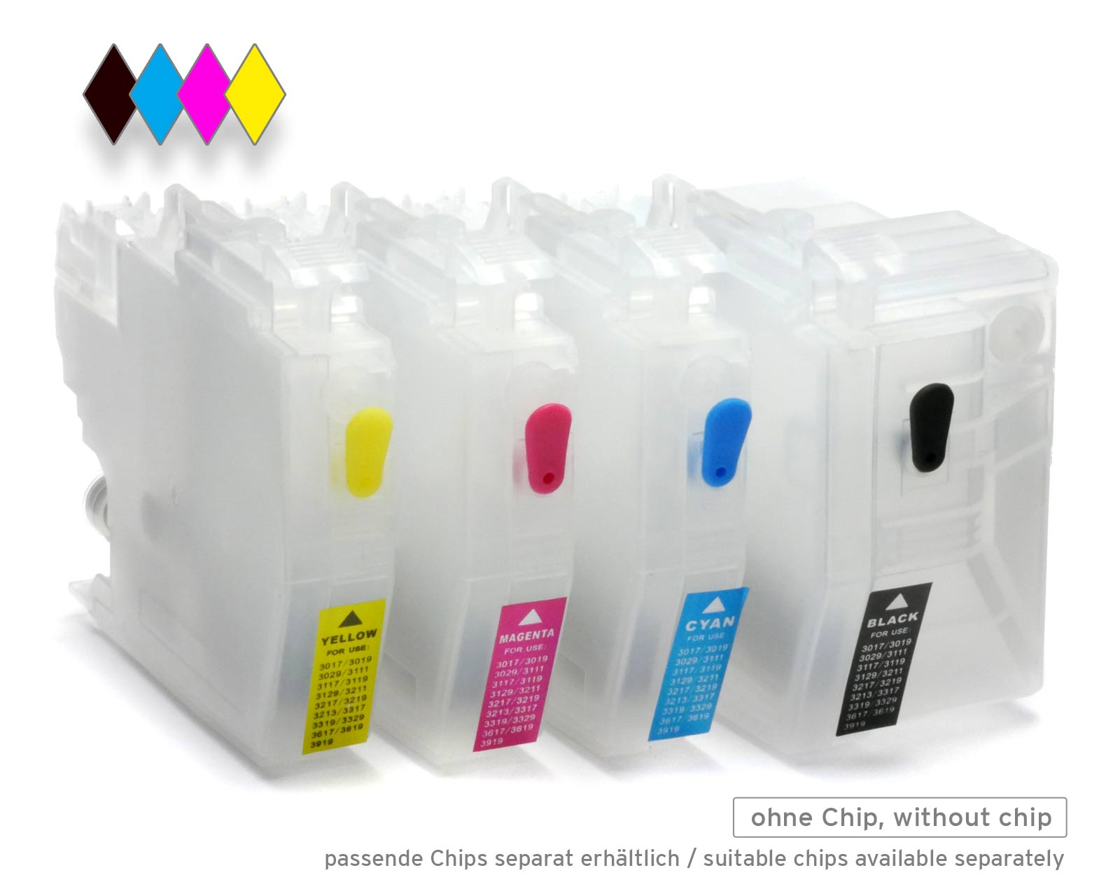 Refillable Ink Cartridges for Brother LC-3219 without Chip