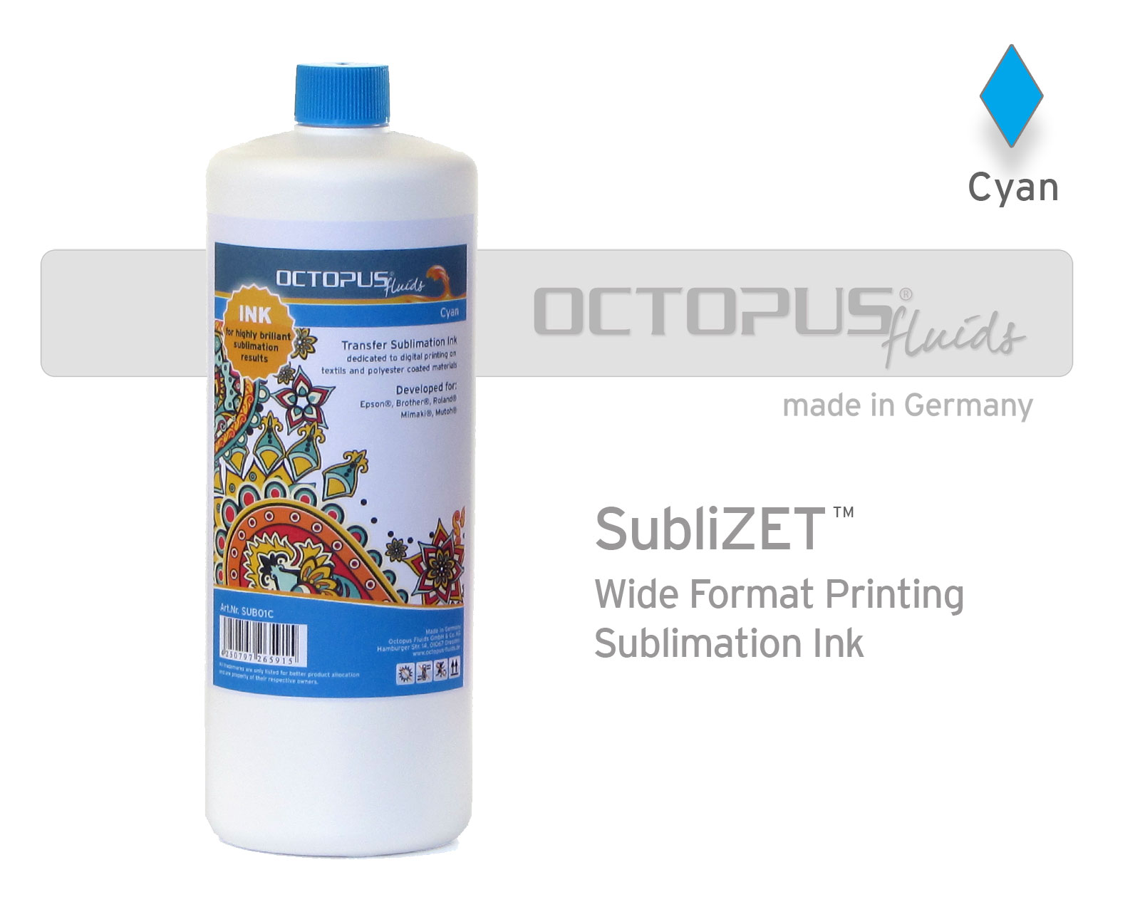 Sublimation ink for Epson, Brother, Roland, Mimaki, Mutoh, cyan