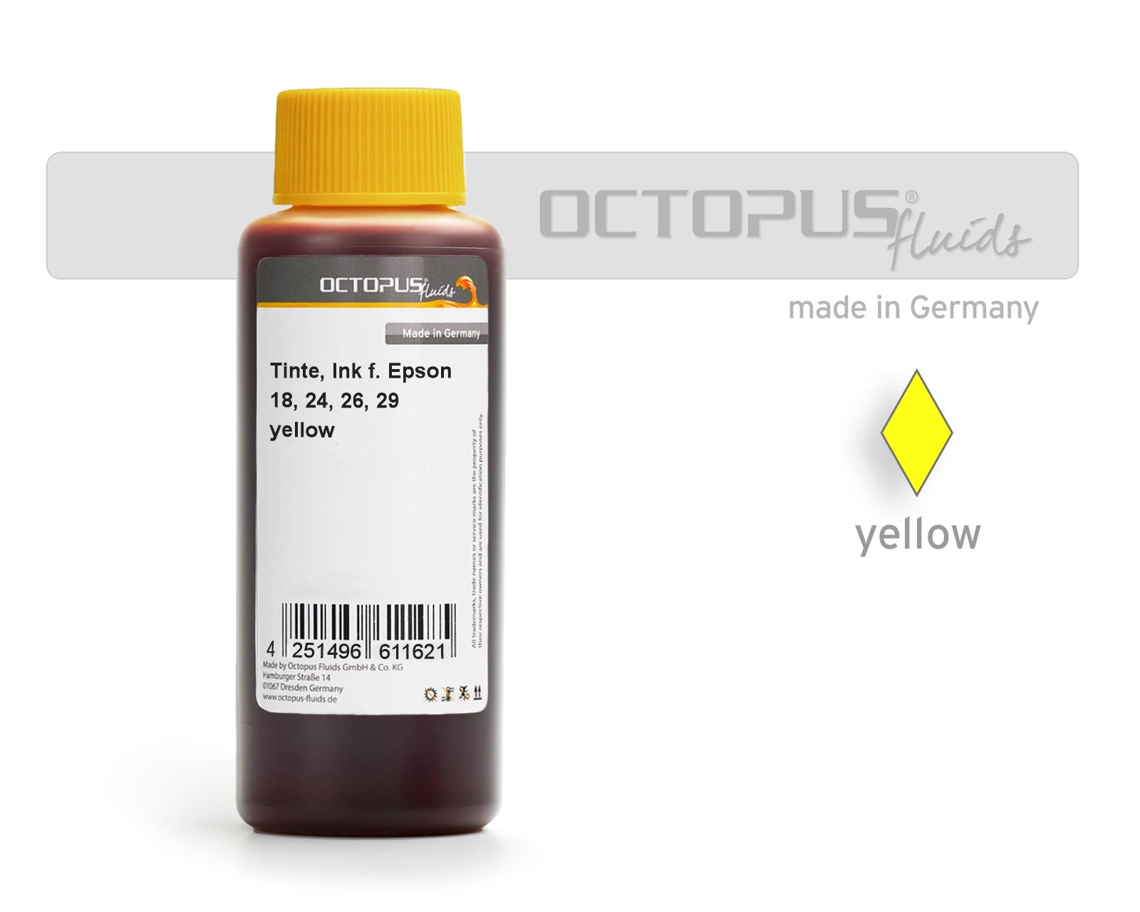 Octopus Ink for Epson 18, 24, 26 cartridges yellow