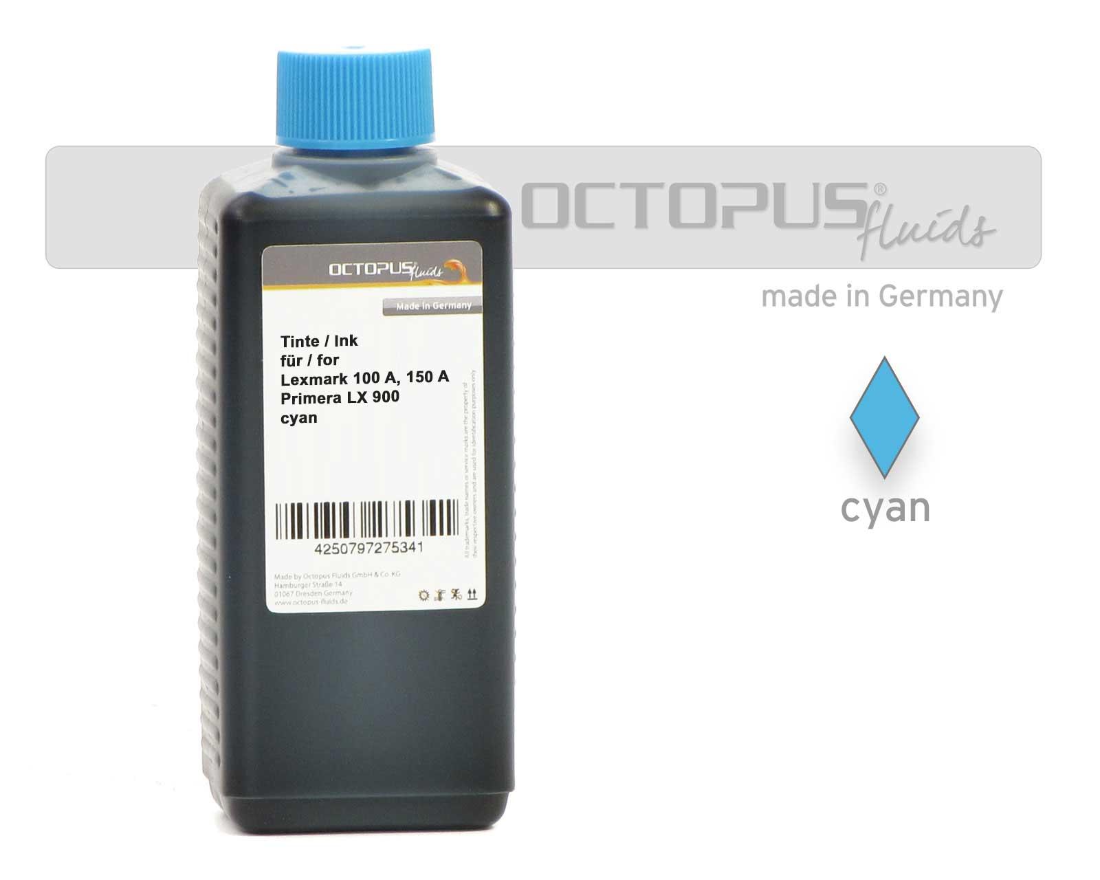 Octopus Tinte für Lexmark 100 A, 150 A, Primera LX 900 cyan