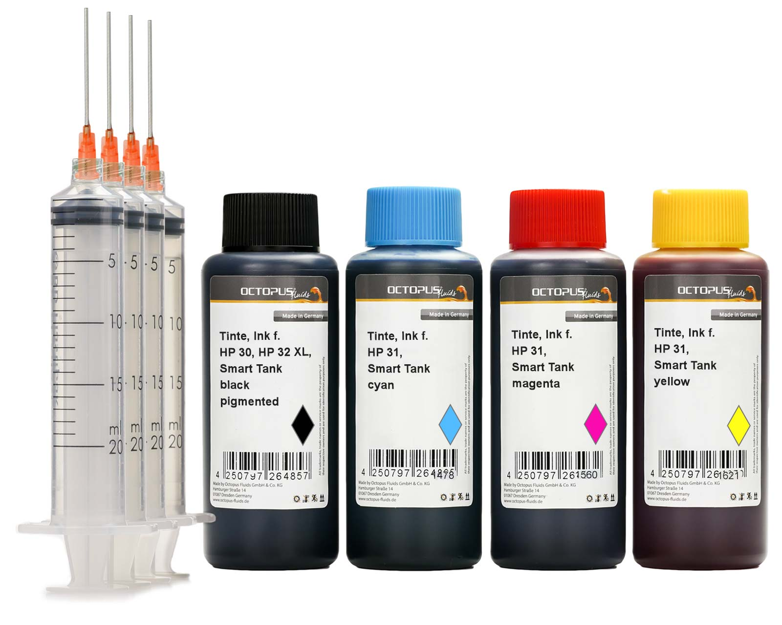 Refill Ink set for HP 30, 31, 32 Smart Tank 315, 450, 455, 457, 550, 555, 559, 570, 655, CMYK