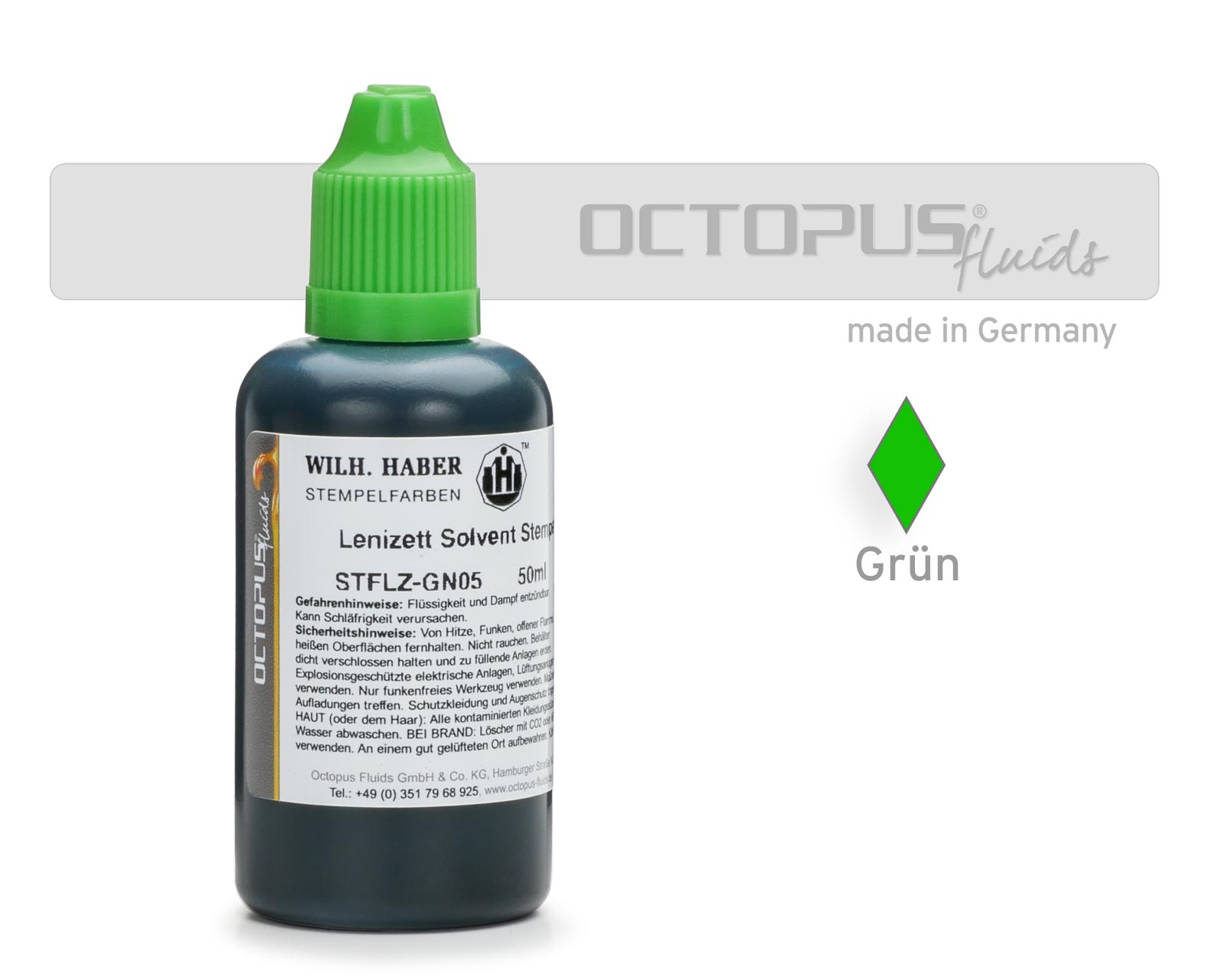 Lenizett Solvent stamping ink for smooth surfaces, green