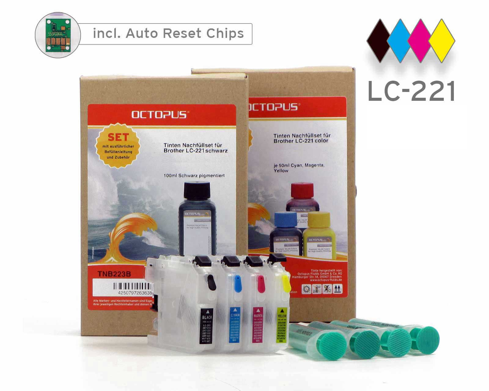 Set of refillable cartridges for Brother LC-221 with ink refill kits