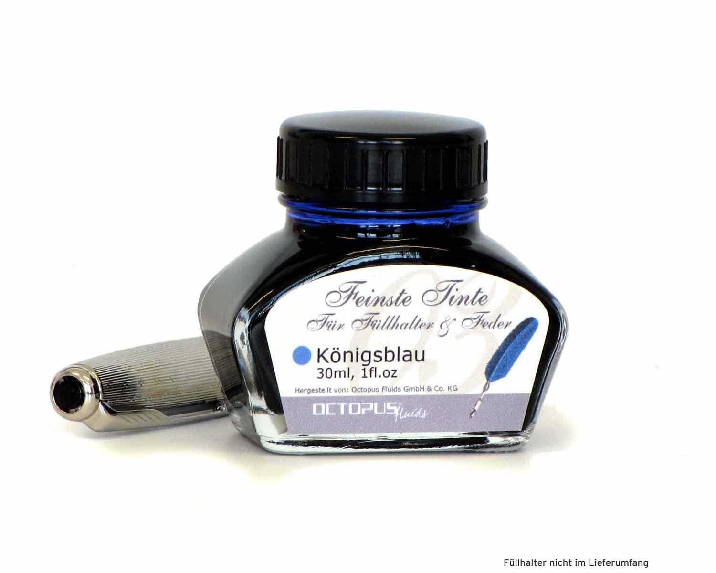 Feinste Schreibtinte für Füllhalter und Schreibfedern, Blau löschbar