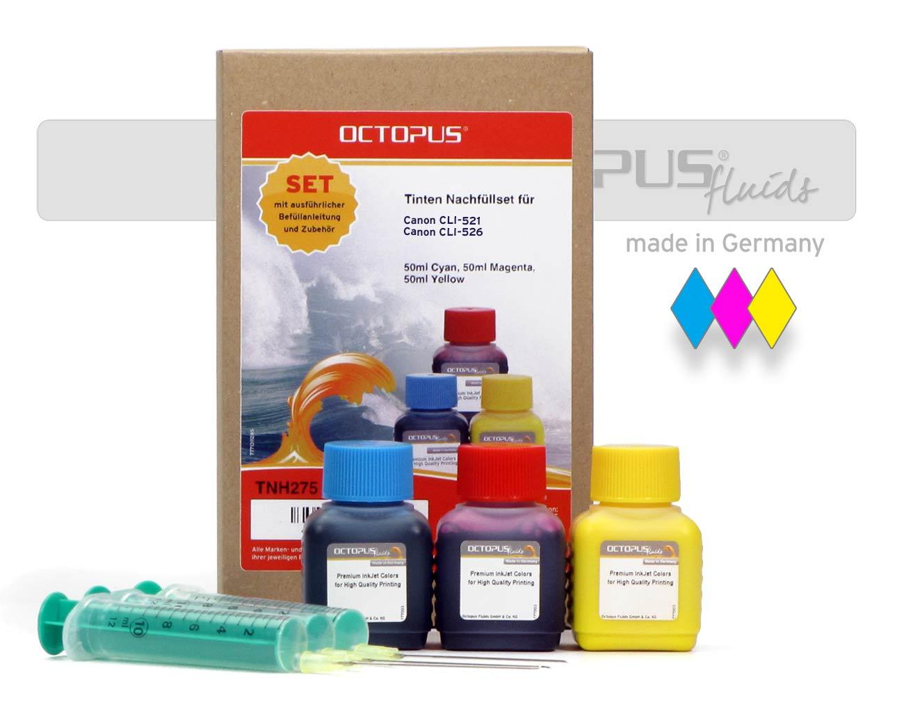 Tinten Nachfüllset für Canon CLI-521, Canon CLI-526 mit je 50ml Druckertinte color