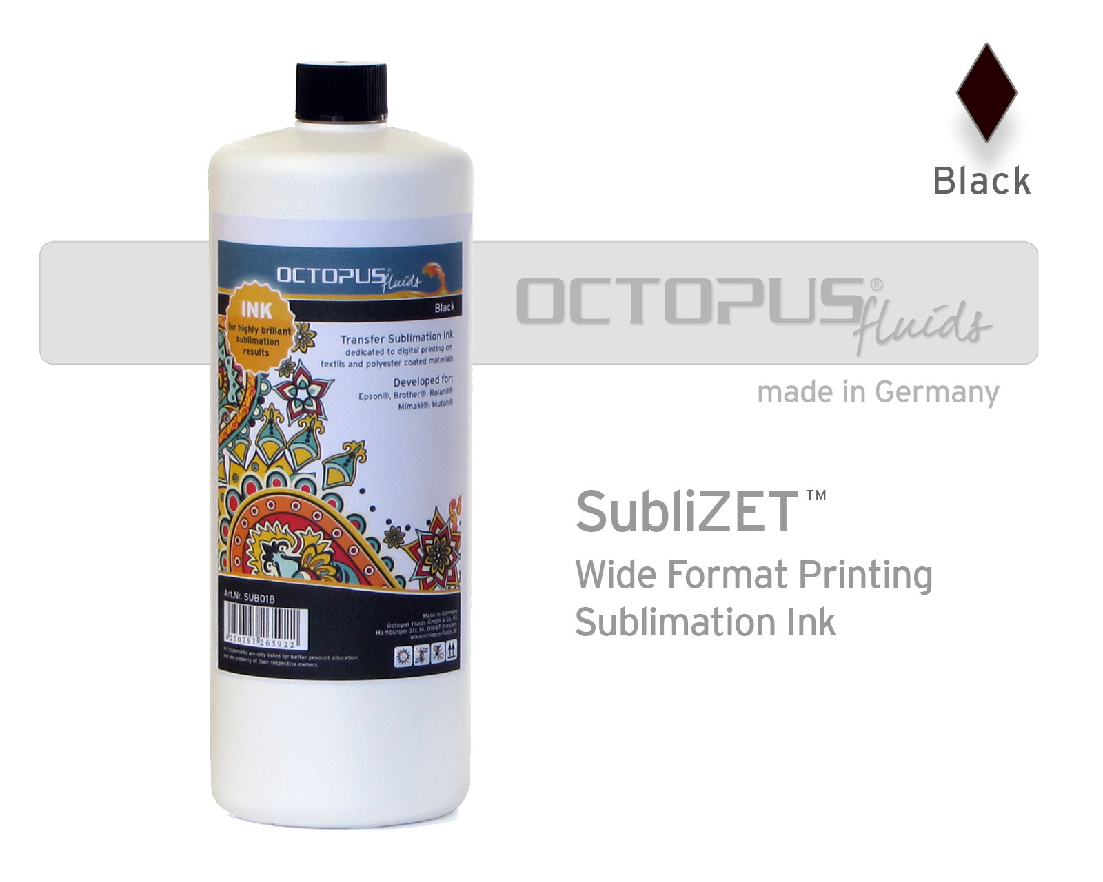 Inchiostro sublimatico  per Epson, Brother, Roland, Mimaki, Mutoh, black