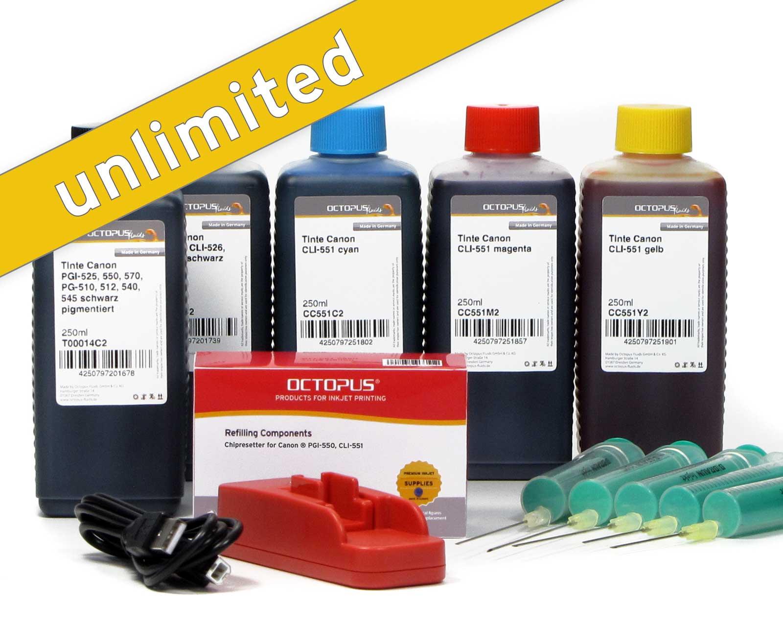 Set di chip resetter per Canon PGI-550, CLI-551 con 5 flaconcini di inchiostro