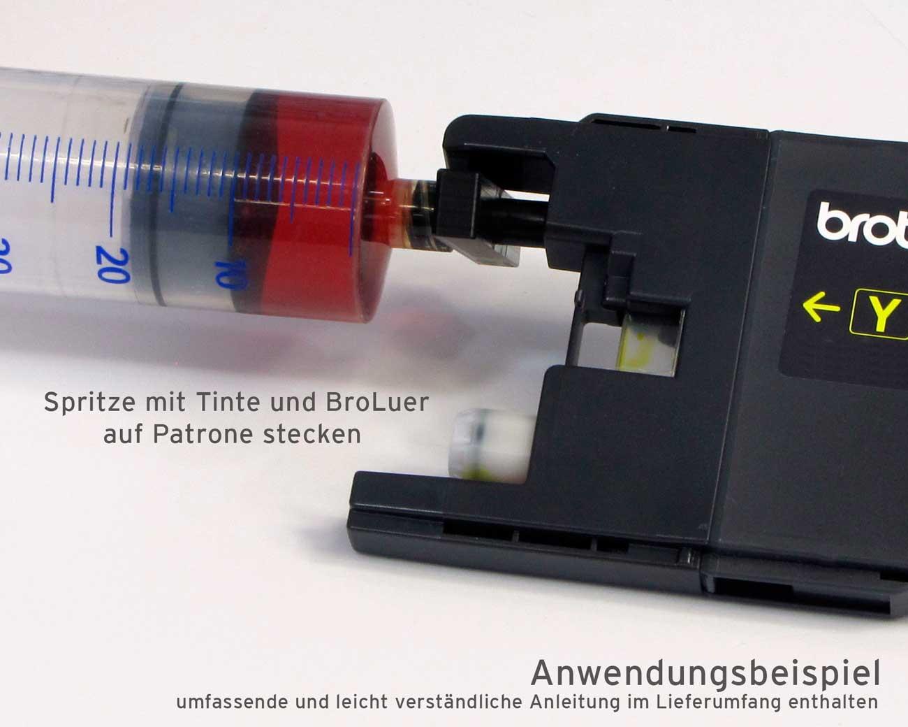 BroLuer Refill Adapter für Brother Patronen inkl. Spritze