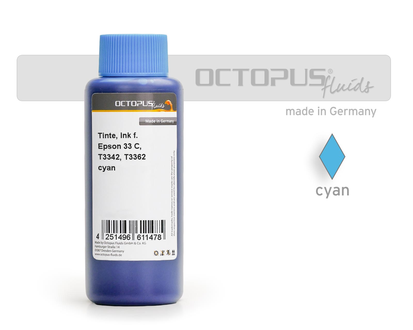Refill ink for Epson 33 C, Expression Premium XP-530, XP-630, XP-830 a.o. cyan