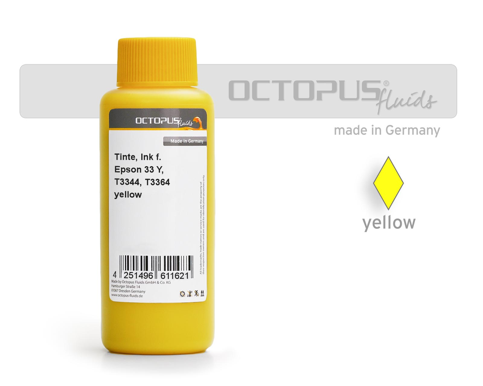 Refill ink for Epson 33 Y, T3344, T3364 Expression Premium XP-530, XP-630, XP-830 yellow