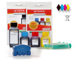 Chip resetter kit for Brother LC-123, 125, 127 incl. 2 ink refill kits