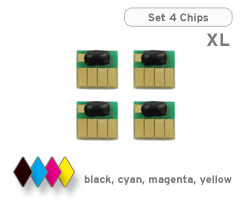 HP 970, 971 chips for black, cyan, magenta and yellow ink cartridges