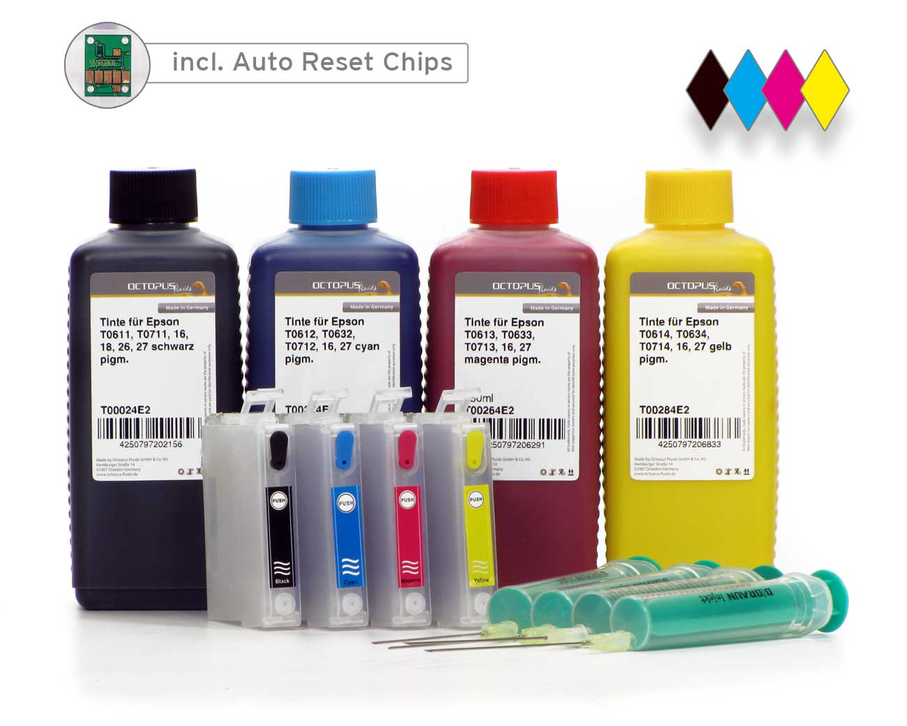 Cartucce Fill In per Epson 27 con chip Autoreset e 4x di inchiostro (no OEM)