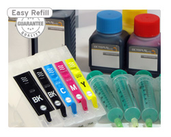 Refillable cartridges for Epson 26 with ink refill kits (non-OEM)