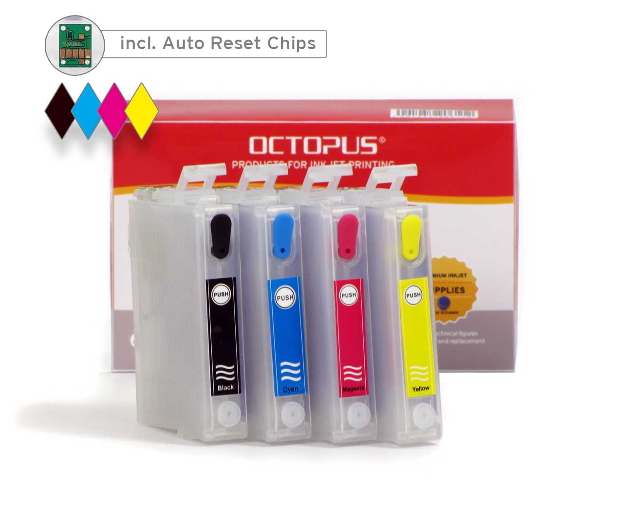 Refillable ink cartridges for Epson 27 inkjet cartridges (non OEM)