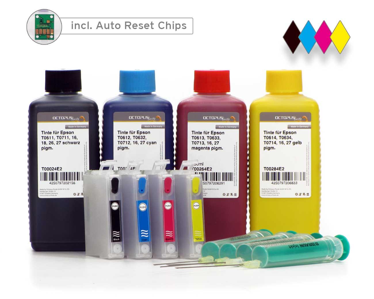 Cartucce Fill In per Epson 27 con chip Autoreset e 4x di inchiostro (no OEM)