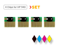 HP 940 chips for black, cyan, magenta and yellow ink cartridges