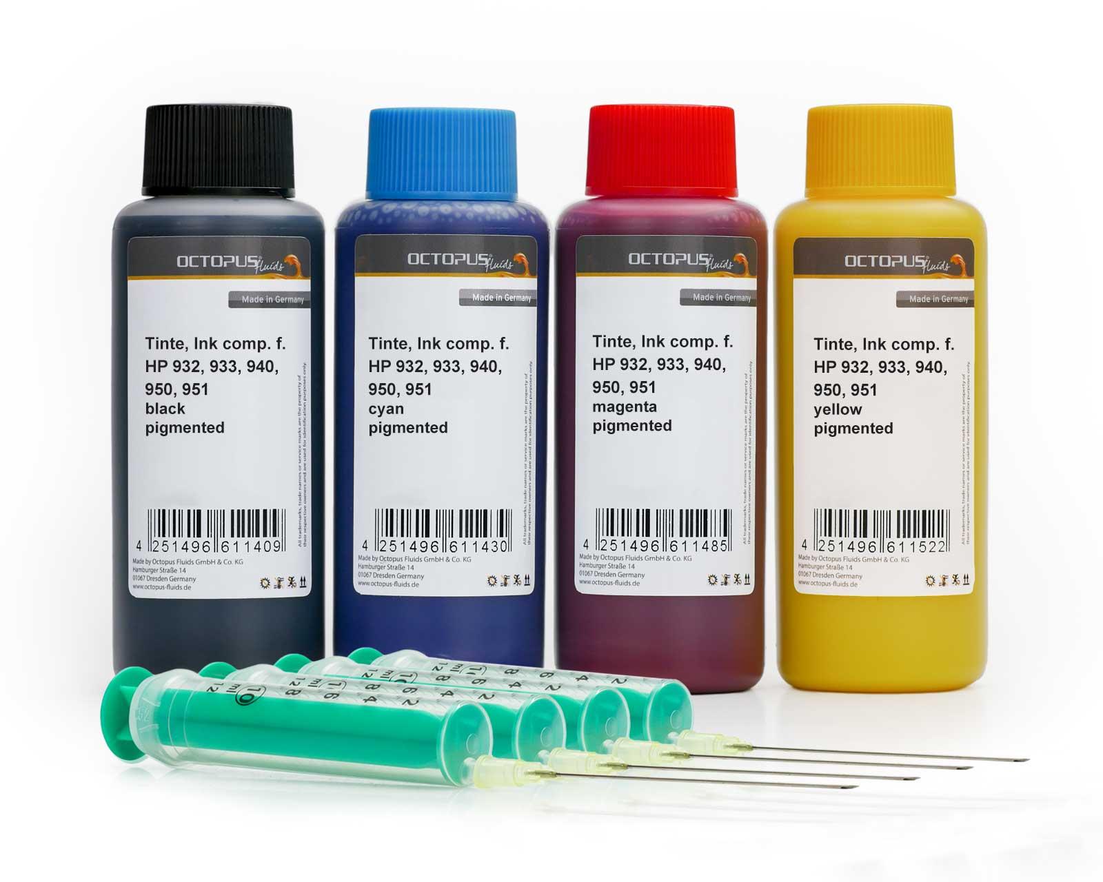 Nachfülltinten Set für HP 932, 933, 940, 950, 951, vier Farben
