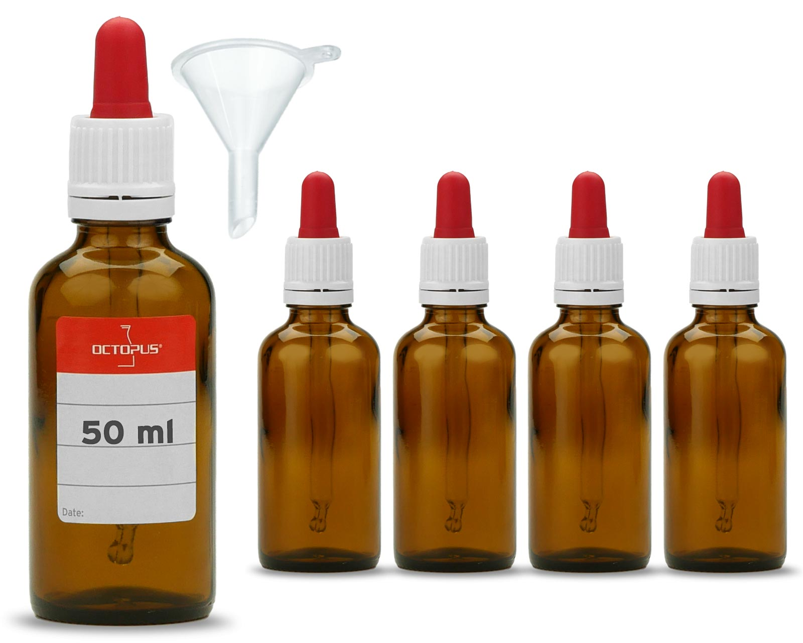 5 x 50 ml Brown glas bottles with glass pipette