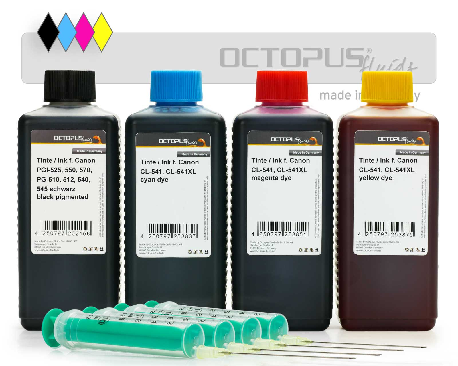 Refill ink set for Canon PG-540, CL-541 cartridges