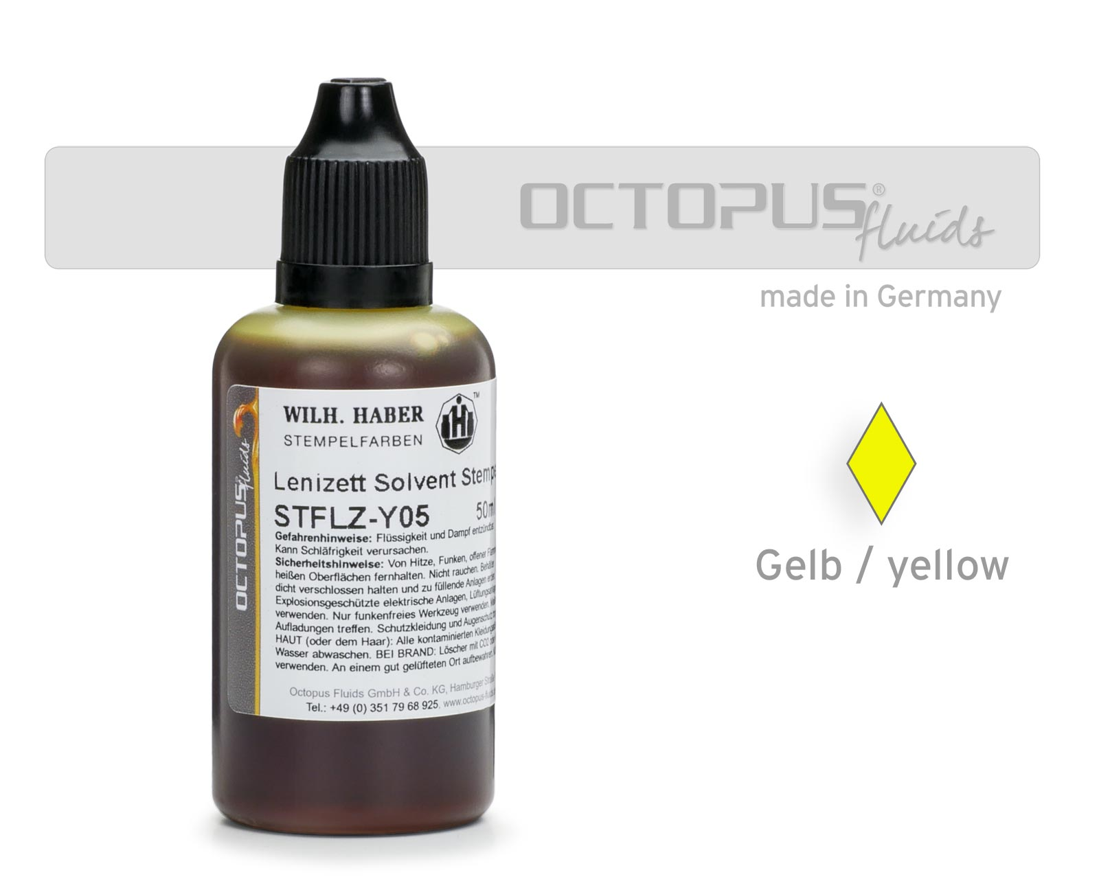 Lenizett Solvent stamping ink for smooth surfaces, yellow