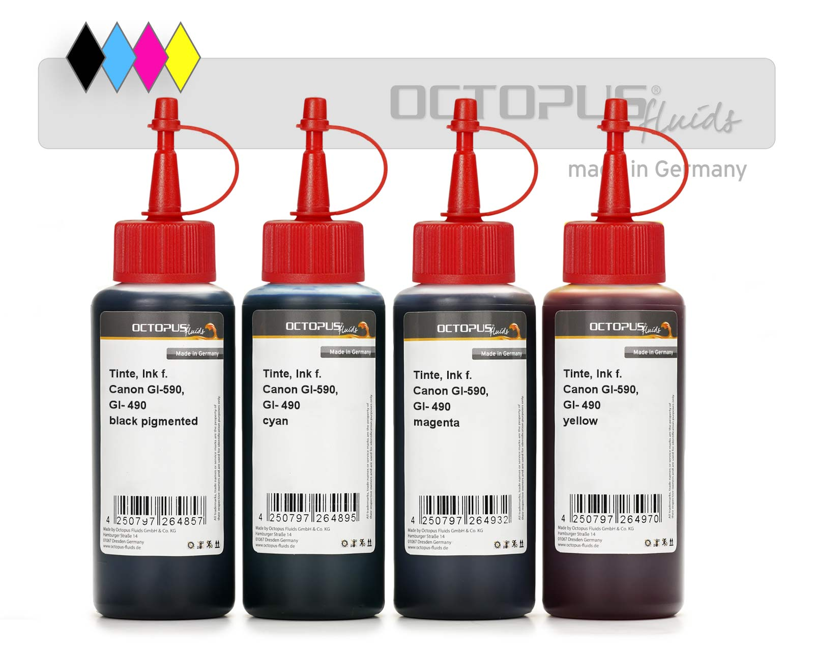 Refill ink kit for Canon GI-590, GI-490 CMYK, Canon Pixma G1500, G2500, G3500, G4500