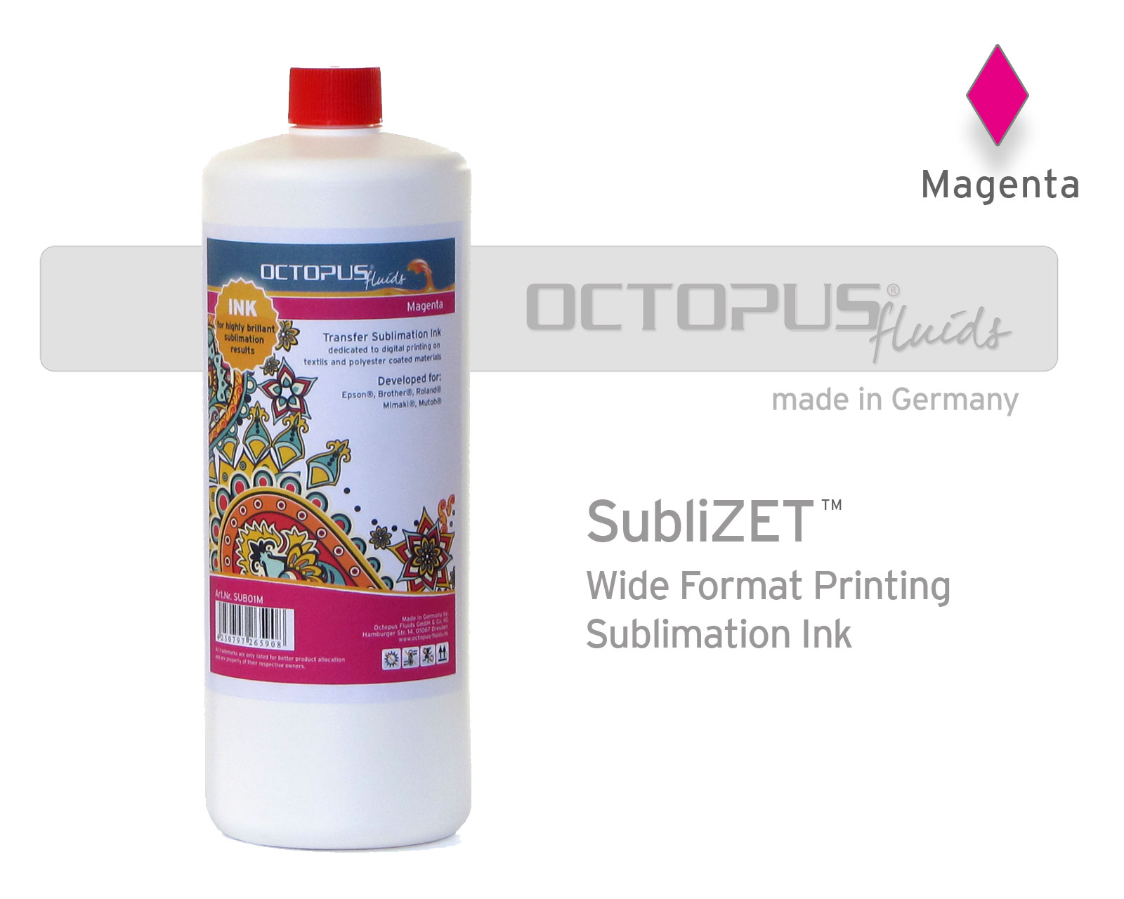 Sublimation ink for Epson, Brother, Roland, Mimaki, magenta